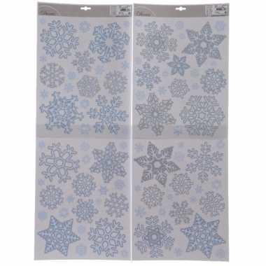 Feest 4x kerst decoratie raamstickers sneeuwvlokken 30 x 42 cm