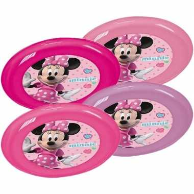 Feest 4x plastic disney minnie mouse bordjes