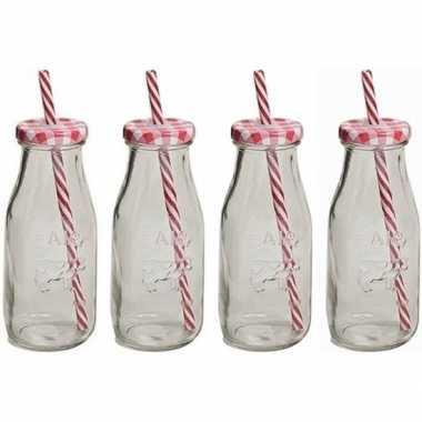 Feest 4x rood witte glazen drink flesjes met rietje 300 ml