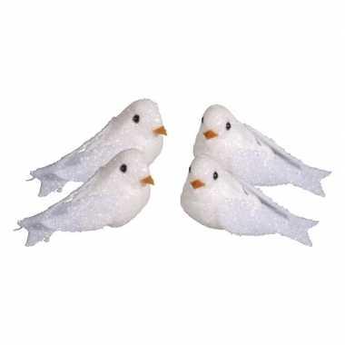 Feest 4x witte decoratie duiven met glitters 5 cm