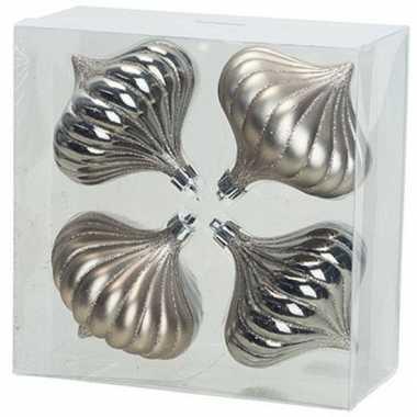 4x zilveren tol kerstballen 10 cm kunststof kerstversiering