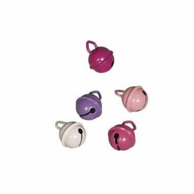 Feest 5 metalen belletjes roze mix 15 mm