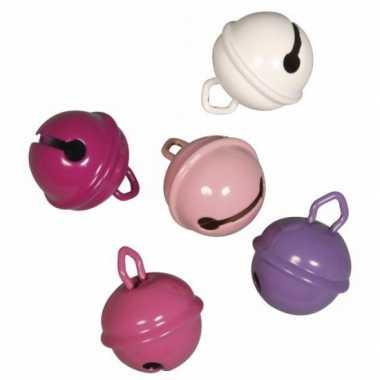Feest 5 metalen belletjes roze mix 19 mm