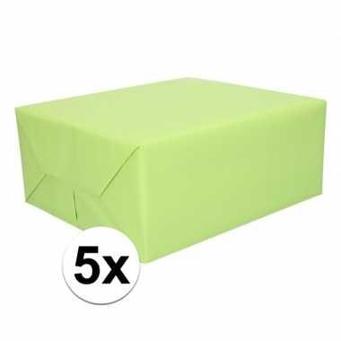 5x kadopapier lichtgroen 200 x 70 cm op rol