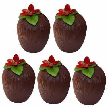 5x kokosnoot drinkbekers hawaii 12 x 10 cm 250 ml