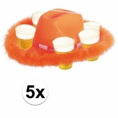 Feest 5x oranje bierhoeden met bondrand