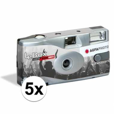 5x wegwerp cameras met flitser voor 36 zwart/wit fotos