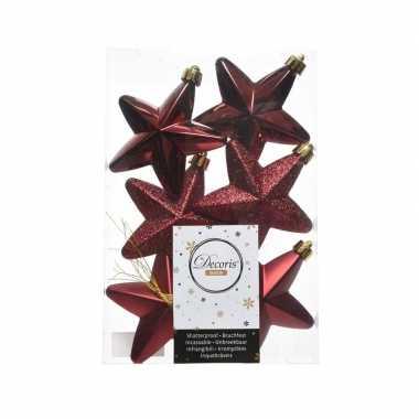 Feest 6x donkerrode sterren kerstballen 7 cm kunststof glans mat glitt