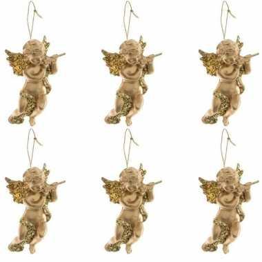 6x gouden engel met dwarsfluit kerstversiering hangdecoraties 10 cm