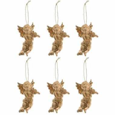 6x gouden engel met viool kerstversiering hangdecoraties 10 cm