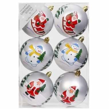 6x witte kerstballen 8 cm kunststof met print