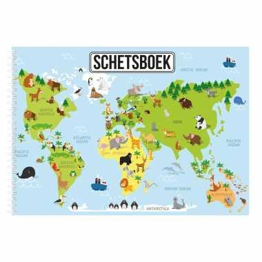 A4 dieren wereldkaart schetsboek/ tekenboek/ kleurboek/ schetsblok wit papier