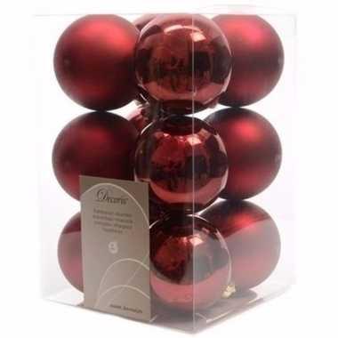 Ambiance christmas kerstboom decoratie kerstballen donker rood 12 x