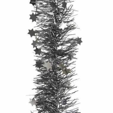 Antraciet kerstversiering folie slinger met ster 270 cm