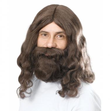Feest baard en pruik van bruin lang haard