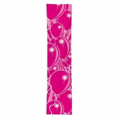 Feest banner met roze ballonnen opdruk