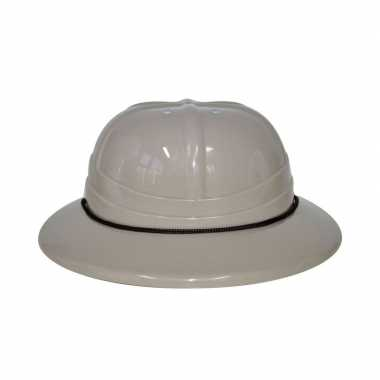 Beige safari helm voor volwassenen