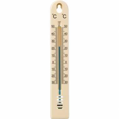 Binnen/buiten thermometer beige kunststof 3 x 17 cm