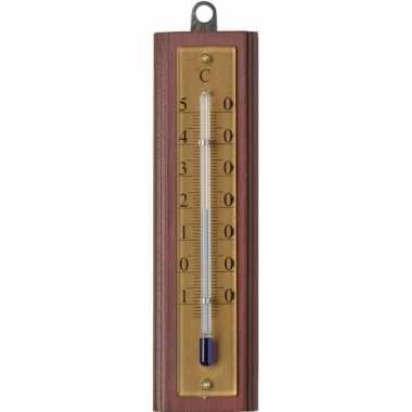 Binnen/buiten thermometer hout 4 x 13 cm
