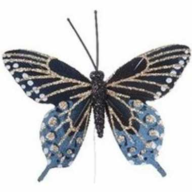 Blauw/gouden vlinder kerstversiering steker decoratie 6 cm