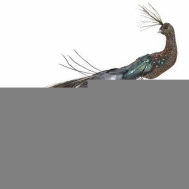Blauw/rode pauwen vogel kerstversiering clip decoratie 10 cm