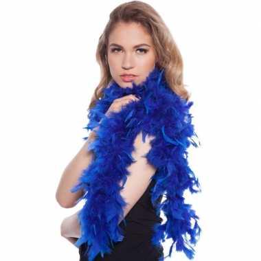 Blauwe boas met veren 180 cm