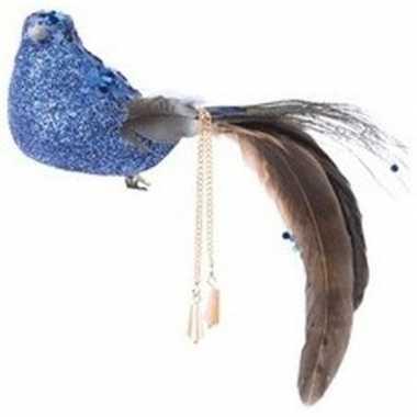 Blauwe glitter vogel kerstversiering clip decoratie 5 cm