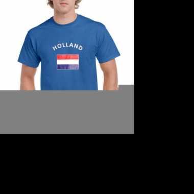 Feest blauwe heren shirts met vlag van holland