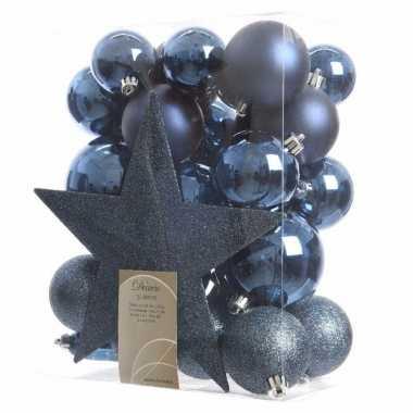 Blauwe kerstballen set inclusief piek
