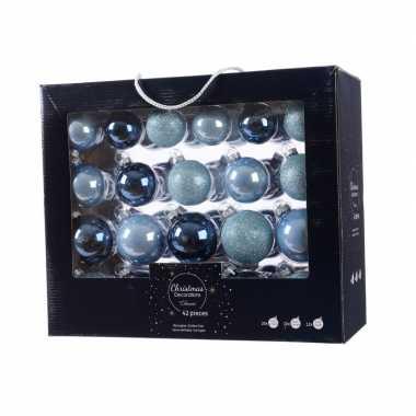 Blauwe kerstversiering kerstballen set 42 delig van glas