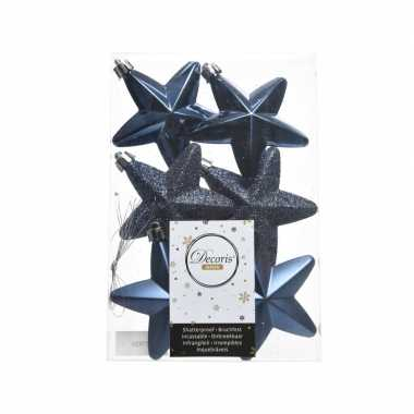 Blauwe kerstversiering sterren kerstballen 7,5 cm