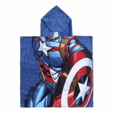 Feest blauwe marvel captain america badcape met capuchon voor jongens