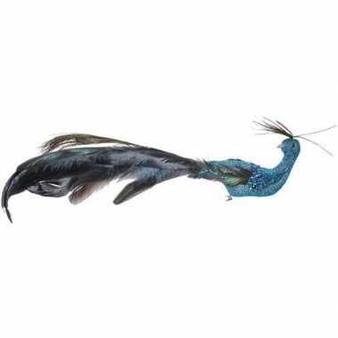 Blauwe pauwen vogel kerstversiering clip decoratie 10 cm