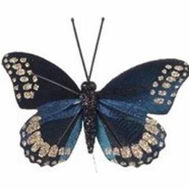 Blauwe vlinder kerstversiering steker decoratie 6 cm