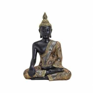Boeddha beeld zwart/goud 45 cm van polystone