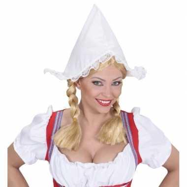Feest boerinnen hoofdkapje wit voor dames