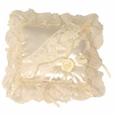 Feest bruiloft ring kussen creme wit