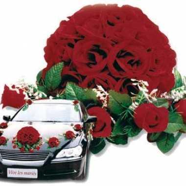 Feest bruiloft rozen decoratie voor auto