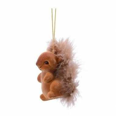 Bruine eekhoorn type 2 kerstversiering hangdecoratie 6 cm