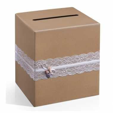 Feest bruine enveloppen doos huwelijk