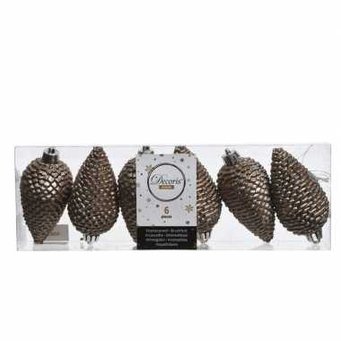 Bruine kerstversiering dennenappelset kunststof 8 cm