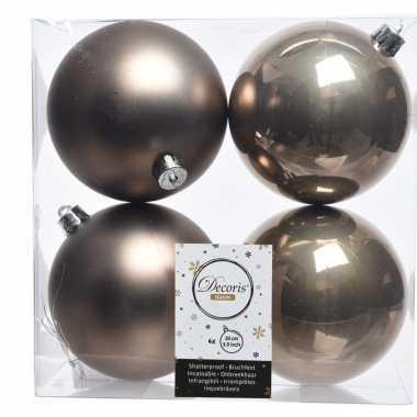 Bruine kerstversiering kerstballen kunststof 10 cm