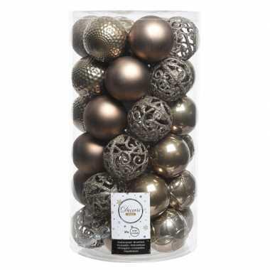 Bruine kerstversiering kerstballenset kunststof 6 cm 36 stuks