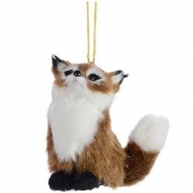 Feest bruine vos kerstversiering hangdecoratie 8 cm