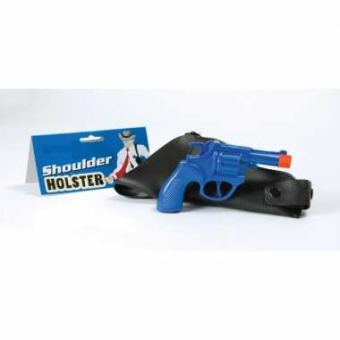 Feest carnaval accessoires pistool blauw 22 cm 10106332