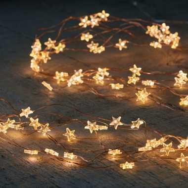 Cascade draadverlichting 40 witte lampjes op batterij