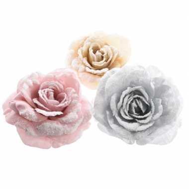 Champagne roos kerstversiering clip decoratie 12 cm