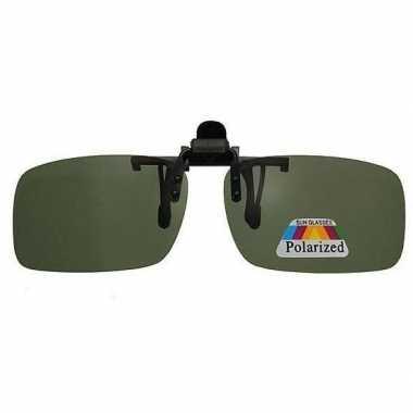 Clip on polariserende voorzet zonnebril zwart uv filter