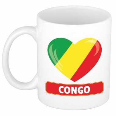 Feest congolese vlag hartje theebeker 300 ml