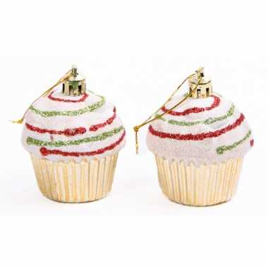 Feest cupcake hangdecoratie setje goud